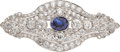 Estate Jewelry:Brooches - Pins, Sapphire, Diamond, Platinum Brooch, J.E. Caldwell. ...