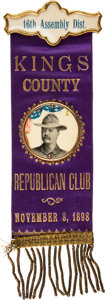 Political:Ribbons & Badges, Theodore Roosevelt: A Pristine 1898 Ribbon Badge for New York Governor....