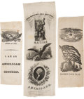 Political:Ribbons & Badges, Native American: 1844 Silk Ribbons; A Fine Group of Three.... (Total: 3 Items)