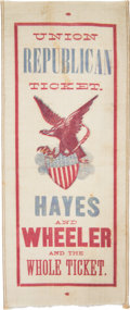 Political:Ribbons & Badges, Hayes & Wheeler: A Bold, Colorful 1876 Ribbon Design....