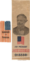 Political:Ribbons & Badges, Harrison & Sherman: Two Colorful 1888 Ribbons.... (Total: 2 Items)