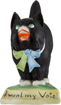 """Political:3D & Other Display (1896-present), Woman's Suffrage: """"I Want My Vote"""" Porcelain Cat...."""
