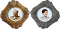 Political:3D & Other Display (pre-1896), Grover & Frances Cleveland: Matched Pair of Wall Plaques with Reverse Glass Portraits.... (Total: 2 Items)