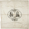 Political:Textile Display (pre-1896), Garfield & Arthur: A Large Silk Campaign Banner....