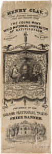 Political:Ribbons & Badges, Henry Clay: One of His Most Desirable Silk 1844 Campaign Ribbons....