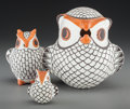 American Indian Art:Pottery, Three Acoma Polychrome Effigy Owls... (Total: 3 Items)