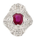 Estate Jewelry:Rings, Art Deco Ruby, Diamond, Platinum Ring. ...