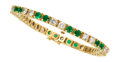 Estate Jewelry:Bracelets, Diamond, Emerald, Gold Bracelet. ...