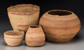 American Indian Art:Baskets, Four West Coast Basketry Items... (Total: 4 Items)