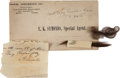 Autographs:U.S. Presidents, Abraham and Mary Todd Lincoln: Autograph Note Signed and Locks ofHair.... (Total: 3 Items)