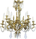 Decorative Arts, British, A George III-Style Gilt Bronze and Cut Glass Twelve-Light Chandelier, late 19th century. 29 h x 26 inches diameter (73.7 x 6...