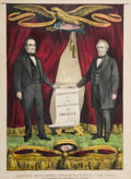 Political:Posters & Broadsides (pre-1896), Bell & Everett: The Extremely Rare Currier Grand National Banner Print....