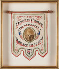 Political:3D & Other Display (pre-1896), Horace Greeley: A Vivid Red, White and Blue 1872 Campaign Bannerwith Albumen Photo and Goldleaf Trim....