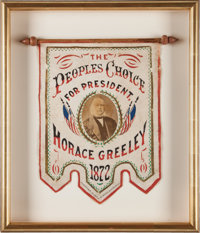 Horace Greeley: A Vivid Red, White and Blue 1872 Campaign Banner with Albumen Photo and Goldleaf Trim