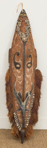 Other, A Carved and Painted Wood, Leather, Grass, and Cowrie ShellMelanesian Male Mai Mask, IATMUL, Middle Sepik River, Papua,N...