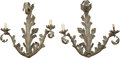 Ceramics & Porcelain, A Pair of Rococo Revival Bronzed Metal Scrolling Foliage Two-Light Wall Sconces, 20th century. 25-1/2 inches high (64.8 cm)... (Total: 2 Items)