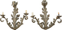 A Pair of Rococo Revival Bronzed Metal Scrolling Foliage Two-Light Wall Sconces, 20th century 25-1/2 inches high (