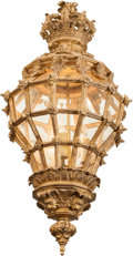 Decorative Arts, Continental, A Rococo-Style Carved Giltwood and Glazed Hall Lantern, 19thcentury in part. 37 inches high (94.0 cm). ...