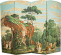 Decorative Arts, Continental, A Four-Part Neoclassical Gouache Painted Allegorical Floor Screen,19th century. 71-1/2 x 87 inches (181.6 x 221.0 cm). ...