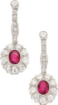 Estate Jewelry:Earrings, Ruby, Diamond, Platinum Earrings. ... (Total: 2 Items)