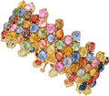Estate Jewelry:Bracelets, Multi-Color Sapphire, Gold Bracelet. ...