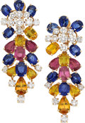 Estate Jewelry:Earrings, Sapphire, Diamond, Gold Earrings, French. ... (Total: 2 Items)