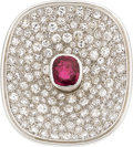 Estate Jewelry:Rings, Ruby, Diamond, Platinum, White Gold Ring. ...