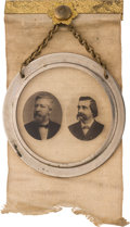 Political:Ferrotypes / Photo Badges (pre-1896), Blaine & Logan: Photographic Jugate on Glass Ribbon Badge....