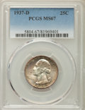 Washington Quarters, 1937-D 25C MS67 PCGS. PCGS Population: (79/0). NGC Census: (23/0).CDN: $700 Whsle. Bid for problem-free NGC/PCGS MS67. Min...