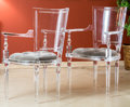Furniture , A Pair of Global Views Marilyn Acrylic Chairs with Button-Upholstered Cushions, 21st century. 38-1/2 h x 23-1/2 ... (Total: 2 Items)
