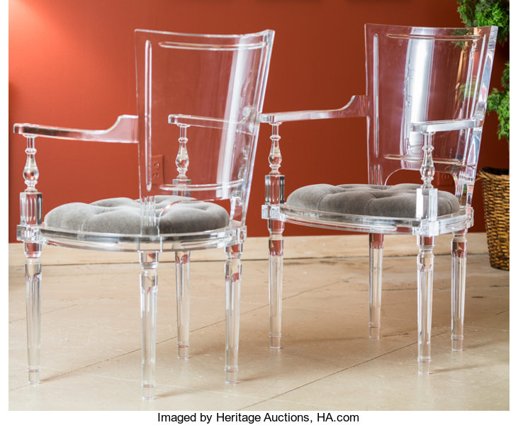 A Pair of Global Views Marilyn Acrylic Chairs with | Lot