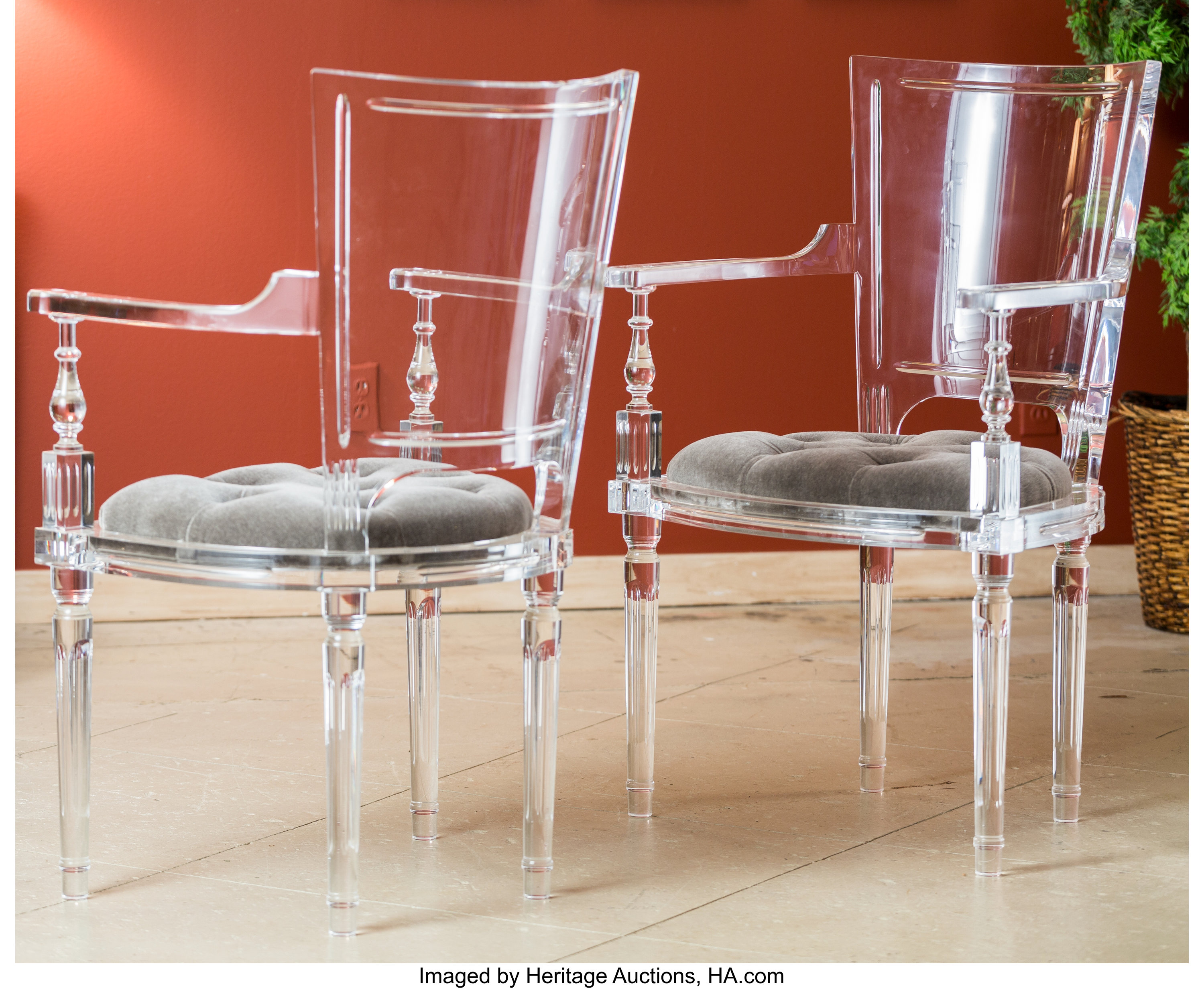 A Pair of Global Views Marilyn Acrylic Chairs with   Lot 20 ...