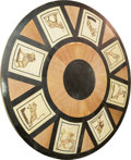 Furniture , A Large Empire Style Marble and Mosaic Tabletop with Hunt Motif, 20th century. 71-5/8 inches diameter (181.9 cm). ...