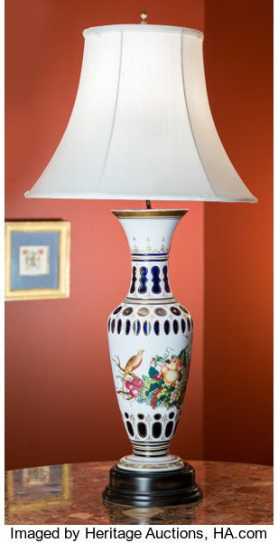 A Bohemian Painted And Cased Glass Vase Mounted As A Lamp Lot