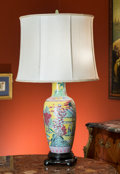 Asian, A Chinese Famille Verte Porcelain Vase Mounted as a Lamp. 35-1/2inches high (90.2 cm) (including hardware). ...