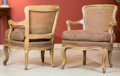 Furniture , A Pair of French Provincial-Style Carved Wood, Caned and Upholstered Fauteuils, 20th century. 32 h x 26 w x 23 d inches (81.... (Total: 2 Items)