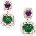 Estate Jewelry:Earrings, Jadeite Jade, Amethyst, Diamond, Enamel, Platinum, Gold Earrings,David Webb. ... (Total: 2 Items)
