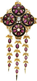 Estate Jewelry:Brooches - Pins, Victorian Diamond, Garnet, Freshwater Pearl, Enamel, Gold Brooch,Froment-Meurice, French. ...