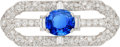 Estate Jewelry:Brooches - Pins, Ceylon Sapphire, Diamond, Platinum Brooch. ...