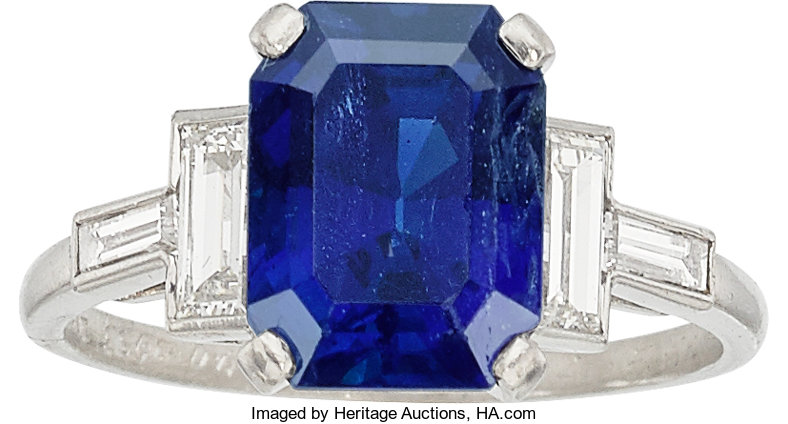 Sapphire Diamond Platinum Ring Bailey Banks And Biddle Lot 54556 Heritage Auctions