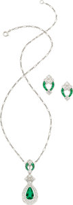 Estate Jewelry:Suites, Emerald, Diamond, Platinum Jewelry Suite, Tiffany & Co.. ...(Total: 3 Items)