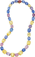 Estate Jewelry:Necklaces, Sapphire, Gold Necklace, Carvin French. ...