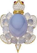 Estate Jewelry:Brooches - Pins, Multi-Stone, Diamond, Platinum, Gold Brooch, Valentin Magro. ...