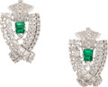 Estate Jewelry:Earrings, Emerald, Diamond, Platinum Earrings. ... (Total: 2 Items)
