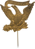 Political:Ferrotypes / Photo Badges (pre-1896), James A. Garfield: Large Brass Shell Eagle Stickpin....