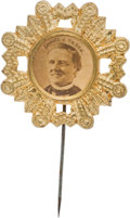 Political:Ferrotypes / Photo Badges (pre-1896), Samuel J. Tilden: Cardboard Portrait Stickpin....