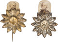 Political:Ferrotypes / Photo Badges (pre-1896), Grover Cleveland and Benjamin Harrison: Mechanical DaisyStickpins.... (Total: 2 Items)