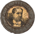 Political:Ferrotypes / Photo Badges (pre-1896), Winfield Scott Hancock: Paper Portrait Tobacco Tag....