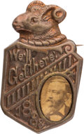 "Political:Ferrotypes / Photo Badges (pre-1896), Benjamin Harrison: ""We'll Get There"" Cardboard Badge...."