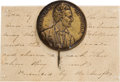 Political:Ribbons & Badges, Abraham Lincoln: A Highly Important and Possibly Unique Brass Pinback Shell Pin with Period Provenance from the 1860 Campaign....